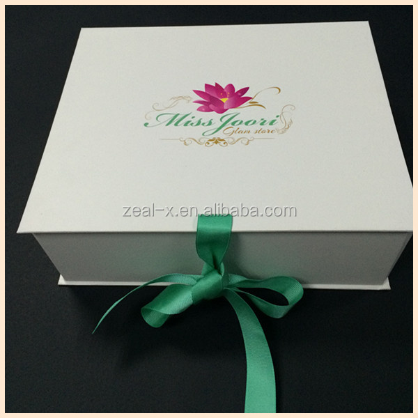 2014 New Products,New Printing Design Paper Folding Box With Green Ribbon,Bridesmaid Clothes Boxes