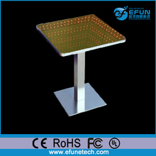 remote control led illuminated color mirror glass top infinity effect LED table