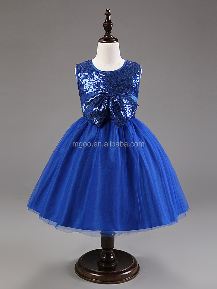 2015 New Toddler Party Dresses Sequin Top Bow Waist Elegant Shinning Wedding Dress Vintage Blue Flowers Girl Dress