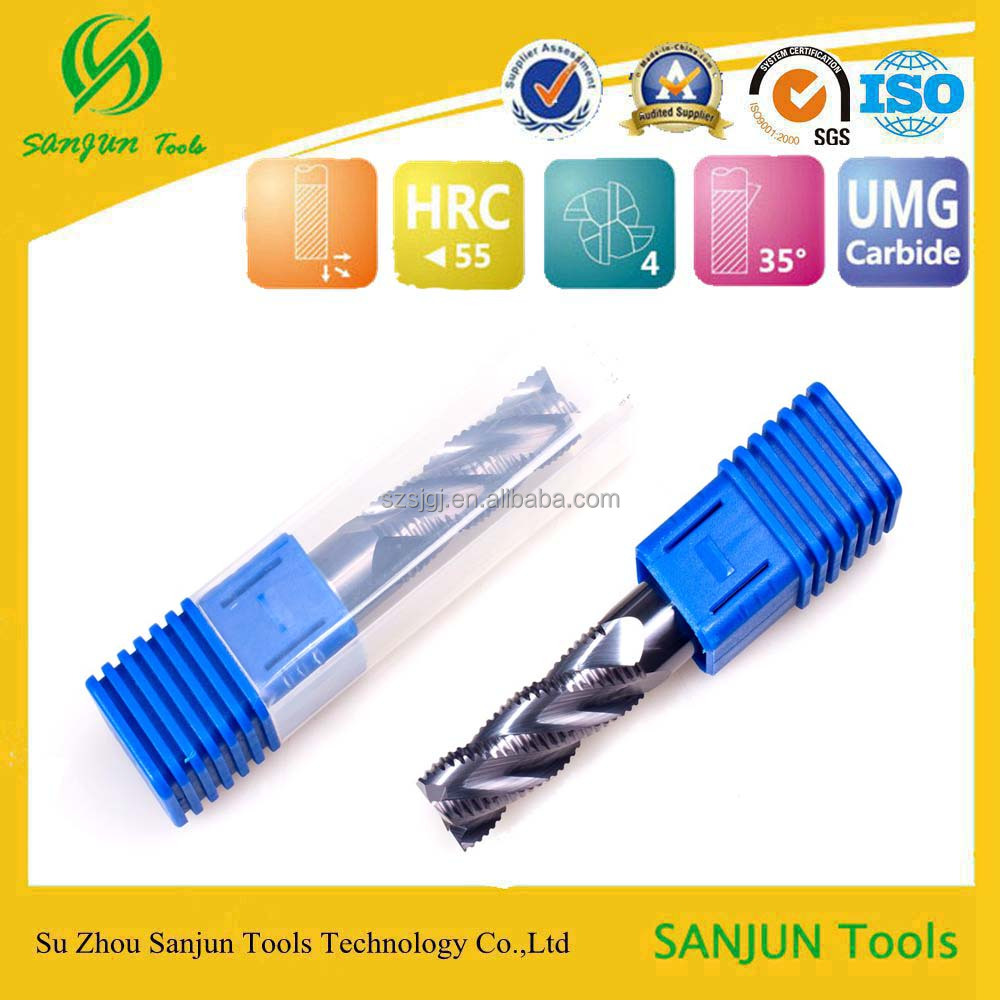 CNC carbide roughing tungsten steel diamond end mill cutter by china supplier