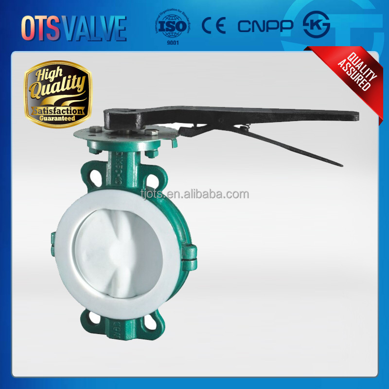 Full PTFE lined soft seated Butterfly Valve