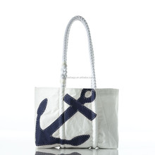Spot clean or machine wash small navy canvas tote bag