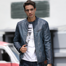fashioned Adults PU men leather jacket casual slim fit