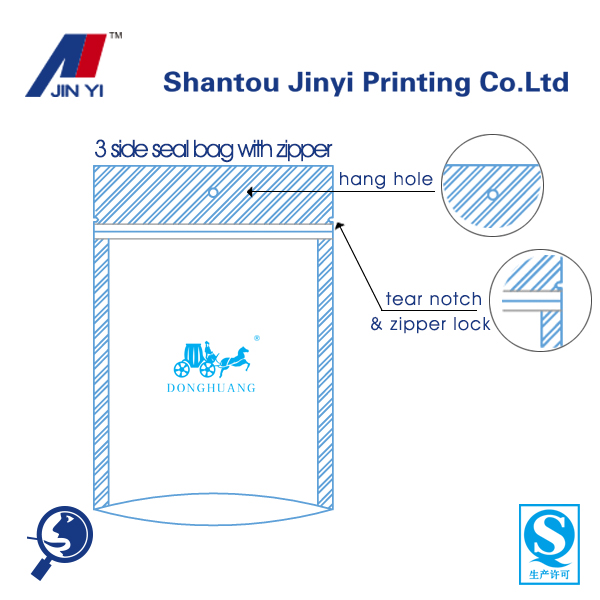 plastic zipper bag custom 3 sides heat sealed with hang hole for food packaging