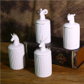Exquisite tableware animal head ceramic candy jar with lid