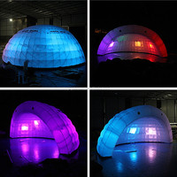 Custom outdoor waterproofing inflatable half round tent,inflatable air dome tent structure with LED ligting