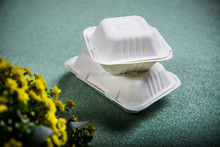 disposable biodegradable bagasse box sugarcane 2 compartment clamshell disposable fast food container