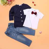 Bulk Stock Baby Boys Clothes Wester Stylenanda Gentry Coat And T-shirt With Jeans Suits Children Three Piece Sets
