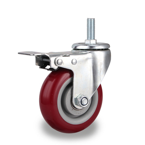 3 4 5 inches PU TPR Rubber ball bearing axle swivel roller caster wheels with brake bolt
