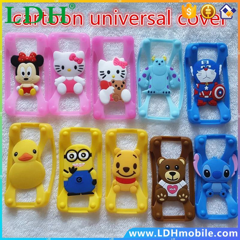 Silicone 3D Cartoon Stitch Minnie kitty Universal Phone Frame Bumper For Iphone4S 5S 6 Case For Samsung Galaxy S5 S6/6screen