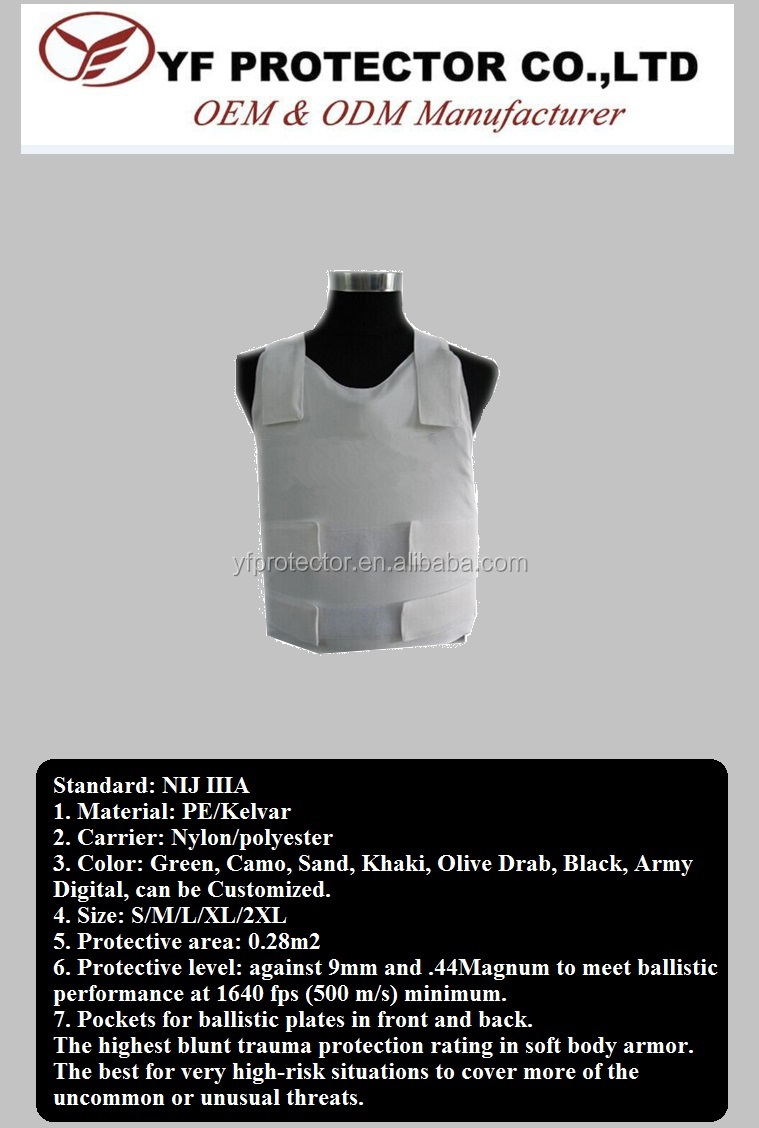 Aramid nylon level IIIA Inner concealable bullet proof vest for army use