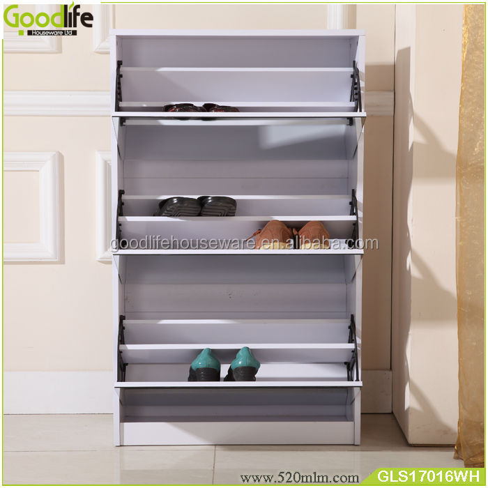 Wooden ready to assemble shoe cabinet with mirror