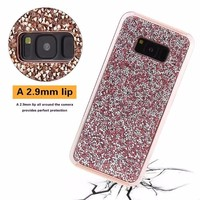 Luxury Soft TPU Electroplating Bumper Bling Glitter Star Hard Plastic Back Cover Case for Samsung Galaxy S8 S8 Plus
