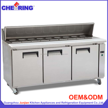 Hotel stainless steel pizza working table refrigerated counter with CE approval made in china