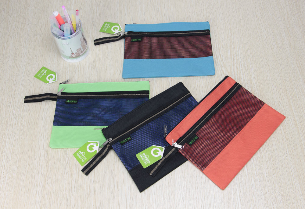 2 pockets ticket pocket office stationery zipper and grid file folder