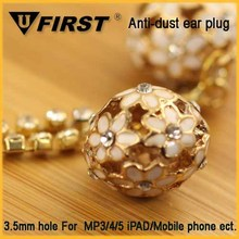 Hot sale crystal ball cel phone ear plug caps