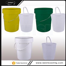 2016 Popular 20 Liter Colored Plastic Bait Bucket With Basket For Outerdoor Fishing