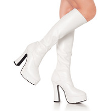 Hot sale good quality patent PU women chunky heels Gogo knee boots