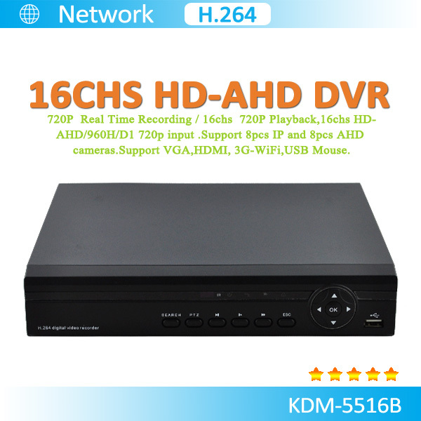 16CH 960P AHD DVR with AHD,IP,Analog,CVI and TVI