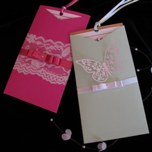 Raspberry Laser cut Wedding invitations Pocket Lace cards with riibon & butterfly lace