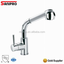 Sanipro bright shiny hot selling brass Single lever water sink faucet with with pull out spout with UPC