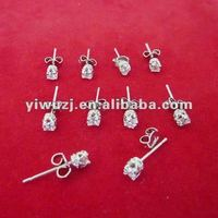 2012 new style hot gold round crown cubic zircon stud earrings, cz stud earrings, zirconia earrings