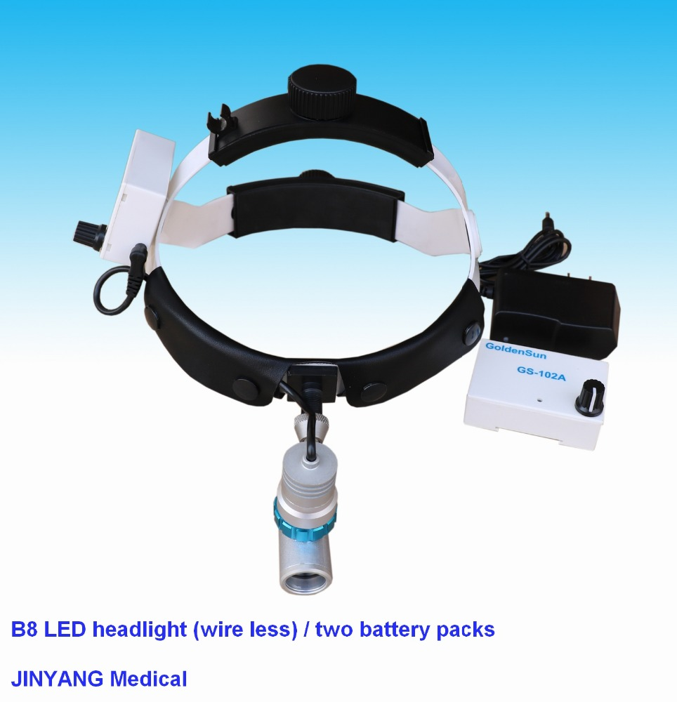 Surgical led head lamp headlight dental loupes 2.5x with two battery packs