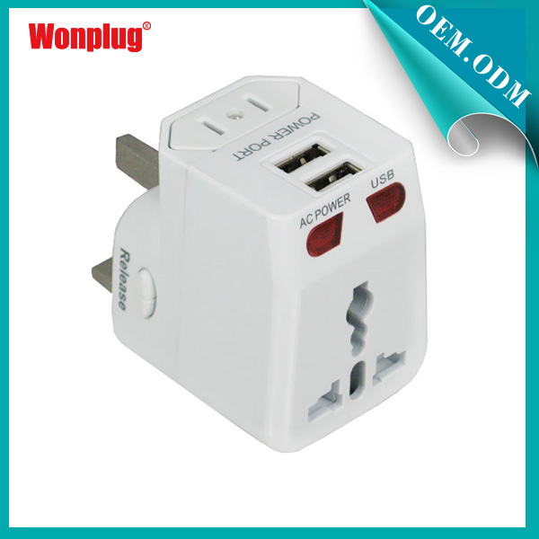 Competitive Price 2.1 A Portable high speed eu au eu usa type outbound travel adapter