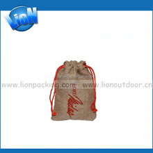 Customer logo New Design Drawstring Natural Fabic Burlap Coffee Bag Pouch