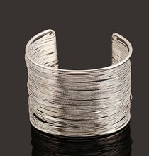 Multi Layer Gold and silver color pulsera para dama esposa Iron wire howllow out