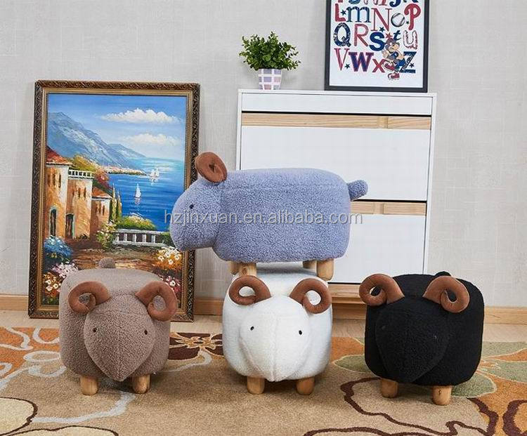 JX1406 UK and Germany hot sale Khaki color children favour sheep stool Ottoman animal shape stools low chair for shoes change