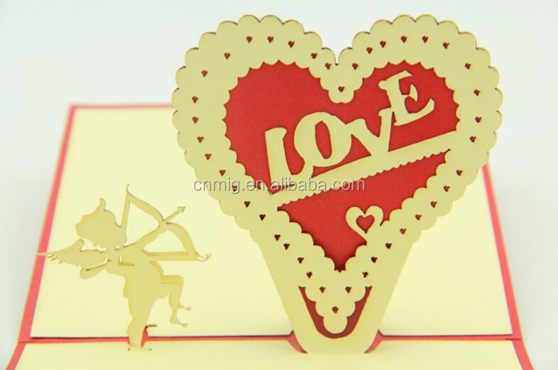 Valentines day gifts heart shape handmade greeting card
