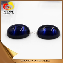 Factory directly sell oval shaped cabochon synthetic blue sapphire gemstone