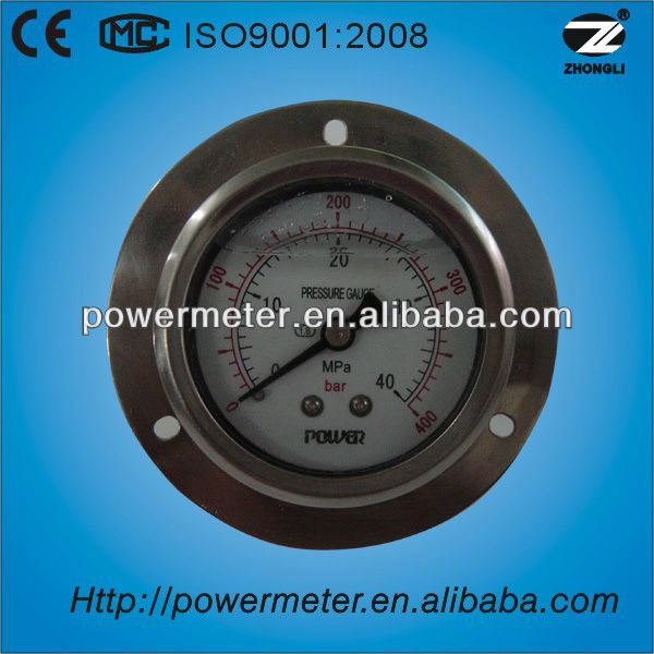 "2.5"" 60mm oil filled back connection pressure gauge with flange"