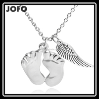 Women Fashion Silver Angel Wing Foot Pendant Chain Necklace With Cheap Price