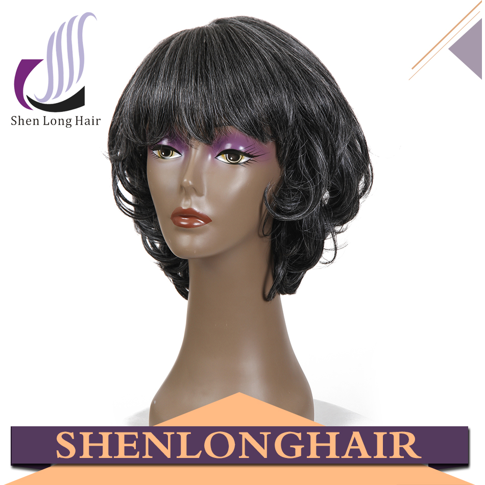 Mixed Grey Wig Synthetic Machine Made Wig Short Style Grey Hair Wig