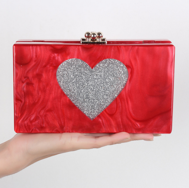 Hot selling <strong>designer</strong> 2018 new trend acrylic lady woman handbag with silver heart glitter