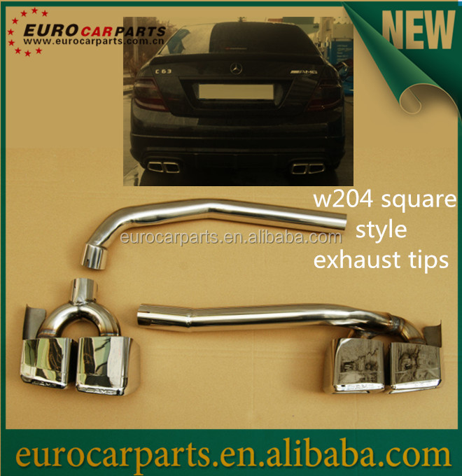 high quality muffler W204 E63 style X exhaust, exhaust tips for w204 C63 body kit with w212 style end pipes