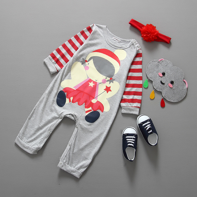 Baby girl christmas rompers infant toddlers cartoon girl print long sleeved jumpesuit with headband 2pcs suits