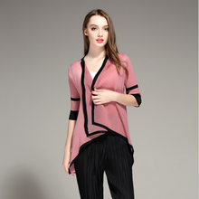 Short Shawl collar pleated hi lo pink three quater sleeve polyester spring autumn young women coat
