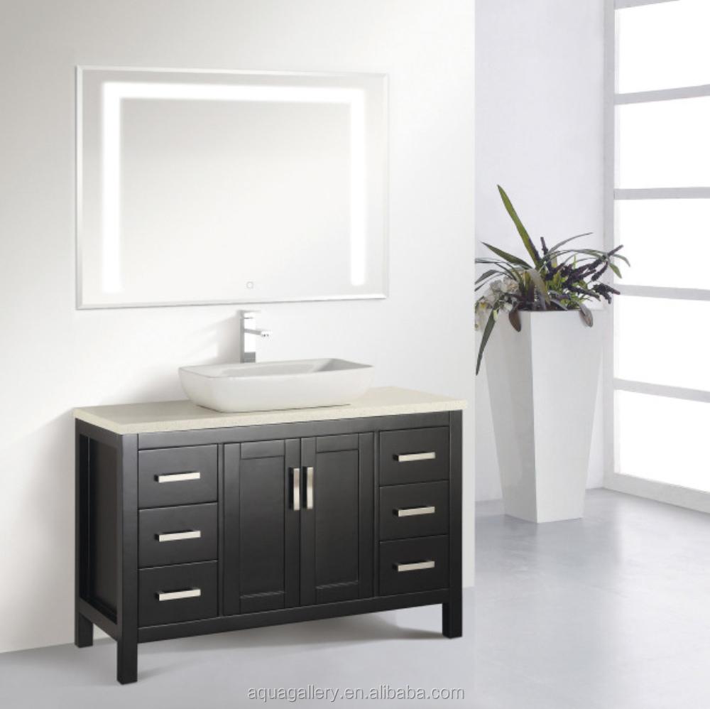 48 inch espresso wooden bathroom cabinet with led mirror