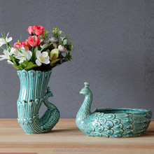Bowl shaped flower pots planters ceramic peacock flower pots