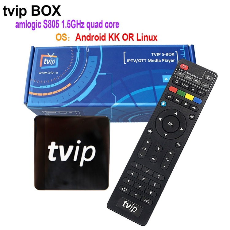 New product 2017 TVIP S805 1G8G Linux android dual OS stream smart tv box for wholesales Quad core TV
