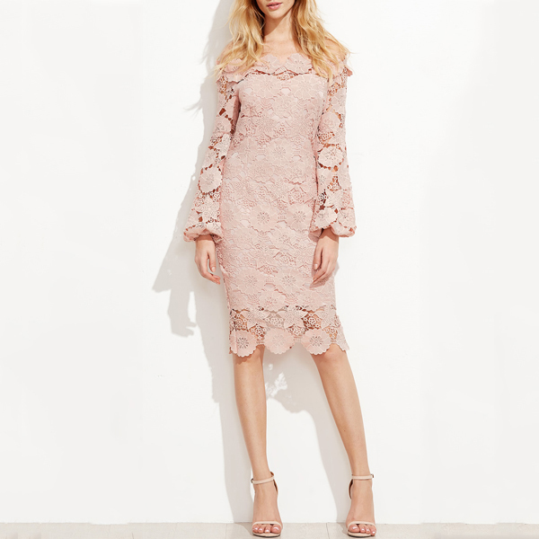 Oem Knee Length Lace Dress Pink Lantern Sleeve Bardot Dress For Party Dresses Women