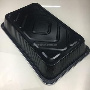 ODM OEM Black color printing heavy duty Disposable aluminum foil food packing full size container/plate/large/BBQ grill tray
