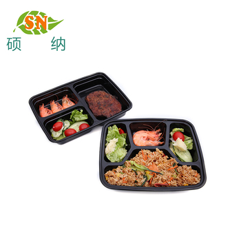 Leakproof rectangle disposable plastic takeaway 4 compartment lunch box with dividers