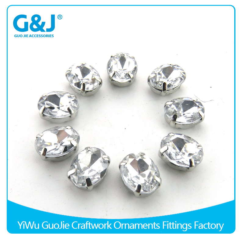 guojie brand Well Designed Wholesale Oval Shape for wedding dresses embellishments with claw crystal stones beads