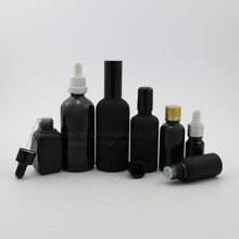 Cosmetics series packaging black glass frosted dropper bottle essential oil container