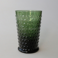 Dark green solid color hobnail open wide mouth candle high ball cup customized glassware