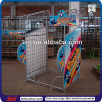 TSD-M934 Custom supermarket free standing metal wire mesh display racks and stands,pillow display rack,supermarket display shelf